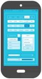 Vlak smartphone mobiel app van het uiontwerp malplaatje Royalty-vrije Stock Afbeelding
