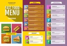 Vlak Snel voedselmenu Reeks voedsel en drankenpictogrammen Stock Foto's