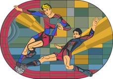Vlak sportbeeld retro van een spel van het spelersvoetbal Royalty-vrije Stock Foto's