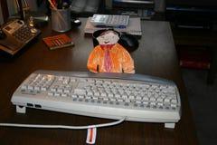 Vlak Stanley Working bij de Computer stock afbeeldingen