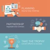 Vlak stijl bedrijfs planning, vennootschap en succesconcept vector illustratie