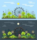 Vlak stijl modern ontwerp van openbaar parklandschap in de stad vector illustratie