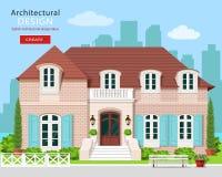 Vlak stijl modern plattelandshuisje vector illustratie