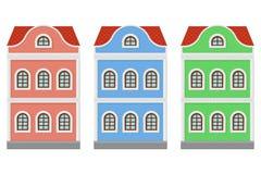 Vlak stijlhuis Two-storey gekleurde oude Europese gebouwen Stock Afbeeldingen
