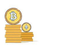 Vlak stijlontwerp met bitcoin en Ether royalty-vrije illustratie
