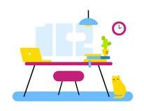 Vlak stijlontwerp van abstracte werkplaats, bureauafdeling voor w stock foto's