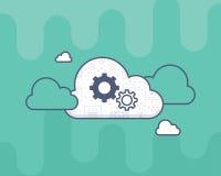Vlak stijlpictogram met witte wolk, tandraderen op het Royalty-vrije Stock Foto's