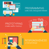 Vlak stijlproces programmeringsprototyping infographic concept Stock Foto's