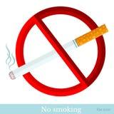 Vlak teken nr - rokende sigaret met rode cirkel Royalty-vrije Stock Afbeeldingen