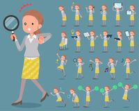 Vlak type achter knoophaar women_2 stock illustratie