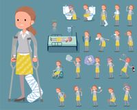 Vlak type achter women_sickness van het knoophaar stock illustratie