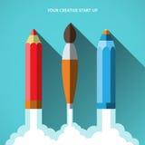 Vlak van de start ontwerp vectorillustratie concept Royalty-vrije Stock Foto