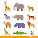 Vlak vector het huisdierenbeeldverhaal van het pictogram wild landbouwbedrijf Royalty-vrije Stock Afbeelding
