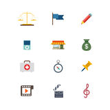 Vlak vector het Webapp van de wets gerechtelijk noodsituatie mobiel websitepictogram Stock Foto