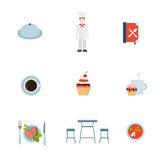 Vlak vectorapp van het restaurant kokend Web pictogram: het lapje vlees van de kokchef-kok Stock Afbeelding