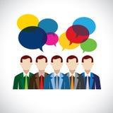 Vlak vectorontwerp van werknemers of stafmedewerkers in vergadering royalty-vrije illustratie