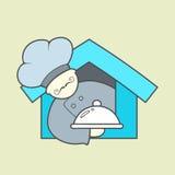 Vlak vectorpictogram van leuk chef-kok, snorren en dienblad Stock Fotografie