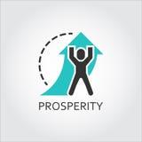 Vlak vectorpictogram van welvaart als pijl van mensenliften stock illustratie