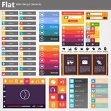 Vlak Webontwerp, elementen, knopen, pictogrammen. Malplaatjes voor website. Royalty-vrije Stock Fotografie