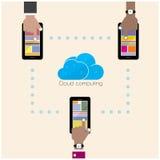 Vlak wolkentechnologie gegevensverwerkingsconcept als achtergrond Laptop en dossierkabinet met ringsbindmiddelen Royalty-vrije Stock Afbeeldingen