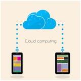 Vlak wolkentechnologie gegevensverwerkingsconcept als achtergrond Laptop en dossierkabinet met ringsbindmiddelen Stock Afbeeldingen
