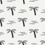 Vlak zwart-wit vector naadloos de zomerpatroon Stock Foto