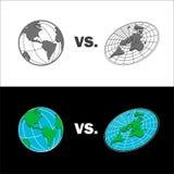 Vlakke Aarde versus de kaart van de Gebiedaarde Geïsoleerdee vectorillustratie Royalty-vrije Stock Fotografie