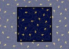 Vlakke achtergrond met Vliegtuigen met Banen op donkerblauwe kleur Vector Naadloos patroon met voorbeeld hoe te binnen te gebruik royalty-vrije illustratie