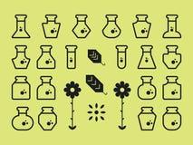 Vlakke Alchimiepictogrammen Stock Fotografie