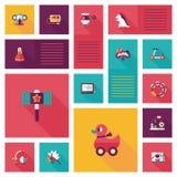 Vlakke app van het jong geitjespeelgoed ui achtergrond, eps10 Stock Fotografie