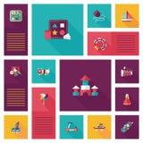 Vlakke app van het jong geitjespeelgoed ui achtergrond, eps10 Stock Afbeeldingen