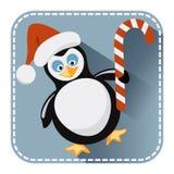 Vlakke avatar met pinguïn in de hoed en de bonbon van Santa Claus vector illustratie