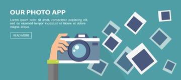 Vlakke banner Illustratie van de camera van de handholding met kaders Stock Afbeeldingen