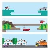 Vlakke banners met auto's Stock Illustratie