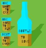 Vlakke barschoten met het thema van de flessenbevordering Stock Foto's