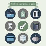 Vlakke bedrijfs en financiënpictogrammen 1 Stock Foto's