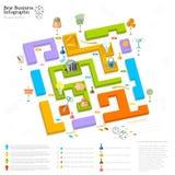 Vlakke bedrijfs grafische labyrintinformatie Royalty-vrije Stock Foto's