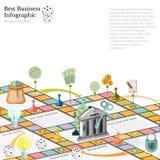 Vlakke bedrijfs infographic achtergrond met financieel raadsspel Royalty-vrije Stock Afbeeldingen