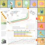 Vlakke bedrijfs infographic hoogste mening als achtergrond met finanial raadsspel Royalty-vrije Stock Fotografie