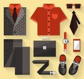 Vlakke bedrijfsinzamelingskleding Grijze kleur Stock Foto