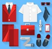 Vlakke bedrijfsinzamelingskleding Rode kleur Royalty-vrije Stock Foto's