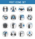 Vlakke bedrijfsmensen die geplaatste pictogrammen ontmoeten Stock Afbeelding