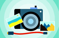 Vlakke beeldcamera met fotografie Royalty-vrije Stock Foto