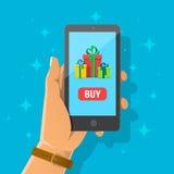 Vlakke beeldverhaalillustratie van smartphone van de handholding Royalty-vrije Stock Afbeeldingen