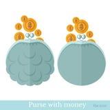Vlakke beurs of zak met gouden muntstukken Stock Foto
