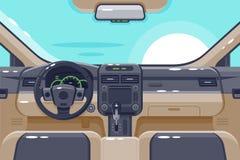 Vlakke binnenkant van autobinnenland met transmissie, stuurwiel, handschoendoos, elektronika en dashboard vector illustratie