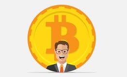 Vlakke bitcoinpictogram en zakenman Gouden muntstuk met de mens Royalty-vrije Stock Afbeelding