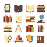 Vlakke boekpictogrammen Bibliotheekboeken, open woordenboek en encyclopedie op tribune Stapel van tijdschriften, ebook en nieuw b vector illustratie