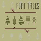 Vlakke bomen Royalty-vrije Stock Afbeeldingen