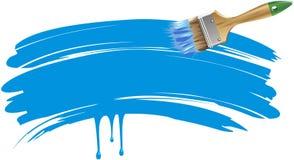 Vlakke borstel met blauwe sleep royalty-vrije illustratie